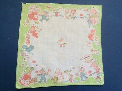 Vintage Children's Handkerchief by Mabel Lucie Atwell  - Pixies Painting Flowers