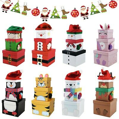 3 Stack-able Nest Gift Present Boxes Christmas Eve Characters & 3 Treat Bags
