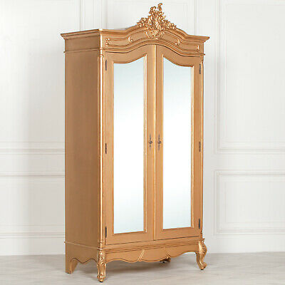 French Style Armoire Wardrobe Wooden Gold Carved Double Door Full Mirrored