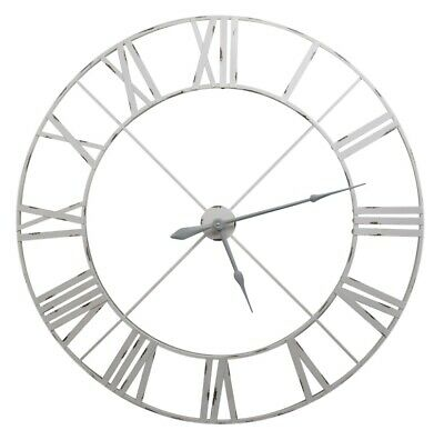 Extra Large Dial 110cm Pale Grey Vintage Metal Wall Clock with Roman Numerals