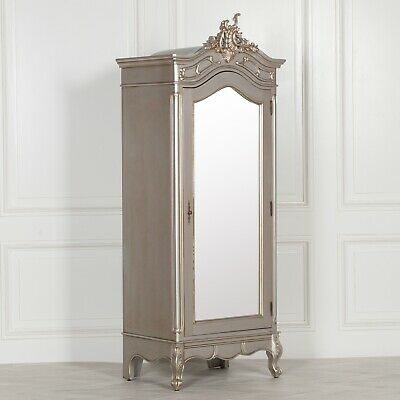 French Style Silver Armoire Wardrobe Mahogany Carved Single Door Full Mirrored