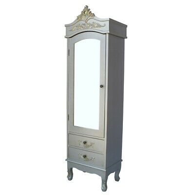 French Shabby Silver Hardwood with Drawer Single Mirrored Door Armoire Wardrobe