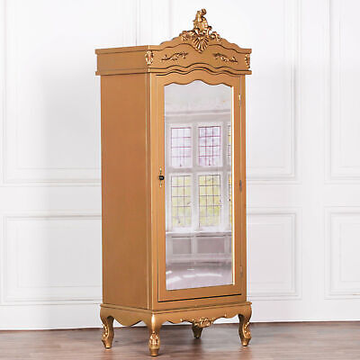 French Antique Style Gold Wooden Single Door Armoire Full Mirrored Wardrobe