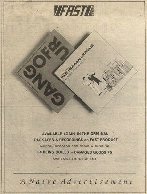 6/9/80Pgn51 Advert: Gang Of Four & Human League Albums Available Again 7x5
