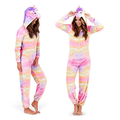 Loungeable Womens 3D Rainbow Unicorn All In One Ladies Hooded Novelty Sleepsuit