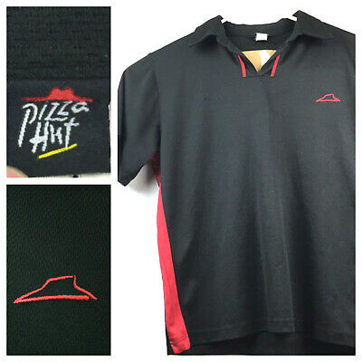 euc Pizza Hut Adult Large Black Embroidred Red Logo Employee Uniform Polo Shirt