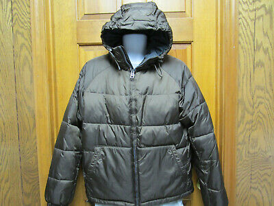 Mens Brown Gap Zippered Coat/Jacket With Hood   Size  Small