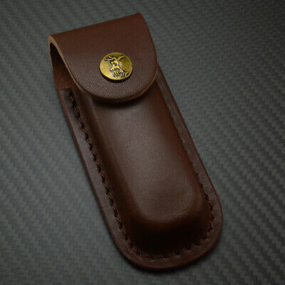 "5"" Brown Leather Belt Sheath pouch for Folding Knife or Multi-tool Case AU W3V5Z"