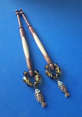 Pair Wood Spliced Lace Bobbins With Articulated Fish on Spangles.