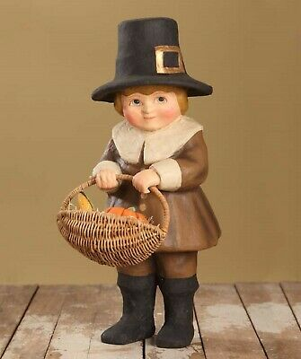 "Bethany Lowe Thanksgiving Large 17 1/2"" Paper Mache Pilgrim Boy TJ6244"