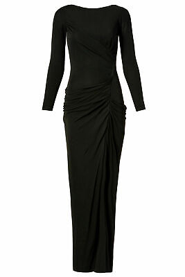 Badgley Mischka Women's Dress Black US Size 8 Draped Long Sleeve Gown $935- #256