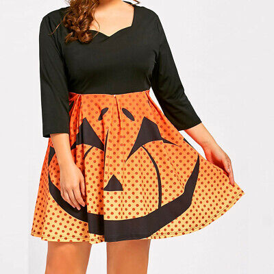 Womens Loose Halloween Party Pumpkin V-Neck 3/4 Sleeves A-Line Mini Dresses Plus
