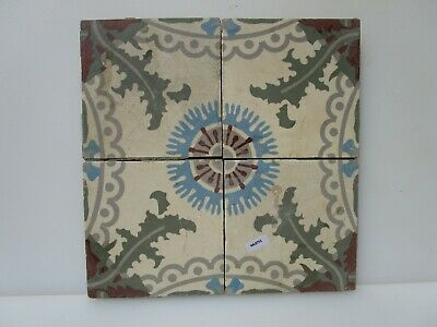 "Vintage French Ceramic Floor Tile Set Tiles Old Architectural Floral x4 6""W"
