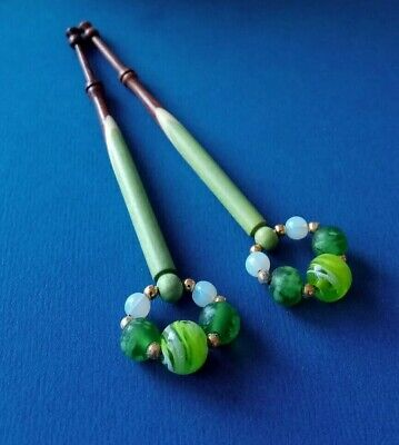 Pair Spliced Wood Lace Bobbins Green, Cream & Brown. Green Spangles.