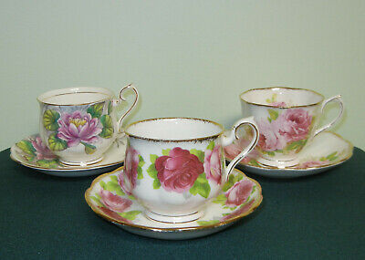 3  Sets Royal Albert Cup & Saucers - American Beauty/Old English Rose/Waterlily