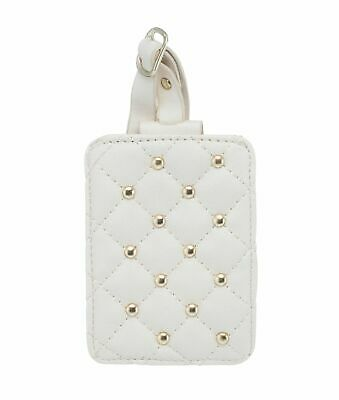 2 Pack Laura Ashley White PU Leather Suitcase Luggage Tags w/ Back Privacy Cover