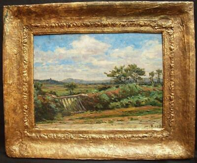 19th Century FRENCH IMPRESSIONIST SUMMER LANDSCAPE Antique Oil Painting SIGNED
