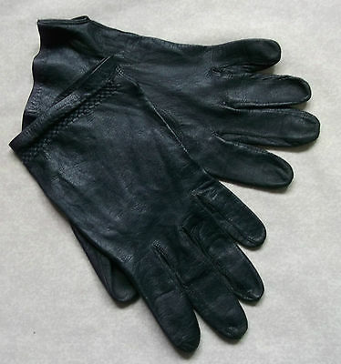 Vintage Gloves WOMENS Leather Retro NAVY