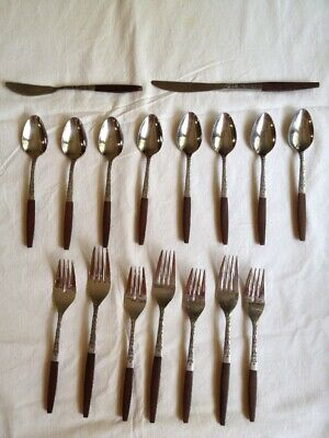 Vintage 17 Piece Mid-Century Interpur Stainless Steel Flatware Japan Wood Handle