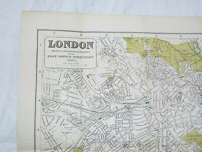 Antique 1905 Kelly's Map Of London For The Post Office Directory, Linen Backed