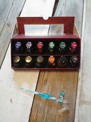 AM Colorful Prose Calligraphy Ink Set Of 12 + Blown Glass Pen And Stand