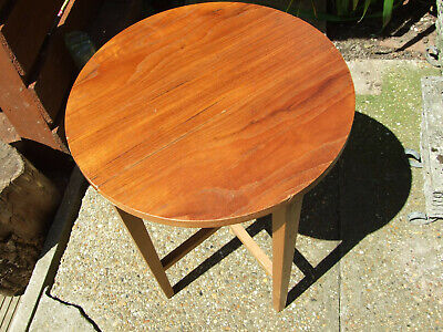 Vintage Round Wooden Folding Table Scandinavian 1970'S