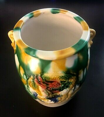 Chinese Tri-Color Vase / Pen Case in Porcelain Clay by Chen Tang Art Handcraft