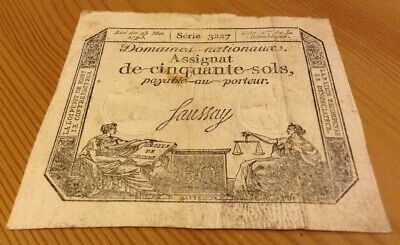 France Revolution Assignat. 50 Sols Banknote. Dated 1793. French Note.
