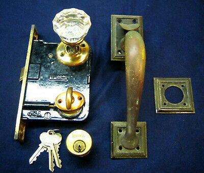 Antique Entry Mortise Lock Brass Pull Handle w/ thumb Latch Cylinder - Russwin