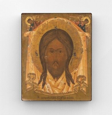 Copy of an antique Orthodox icon. Holy face of Christ. Nord. Pseudo-antiques.