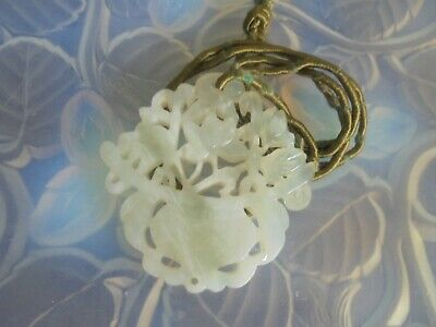 Antique Chinese Qing 1910 Pure White Jade Lotus Vase Hand Carved Pendant Oldcord
