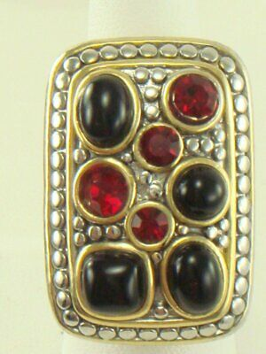 Silver & Gold Tone Fashion Ring Black Red Stones Size 8 Stunning!