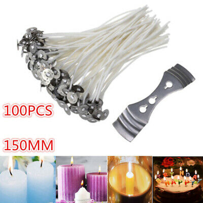 100Pack Pre Waxed Candle Wicks for Candle Making With Sustainers 15cm Long G6L0J