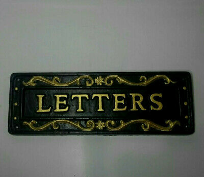 Vintage Door Mail Letter Slot Old Cast Iron Gold Painted Ornate