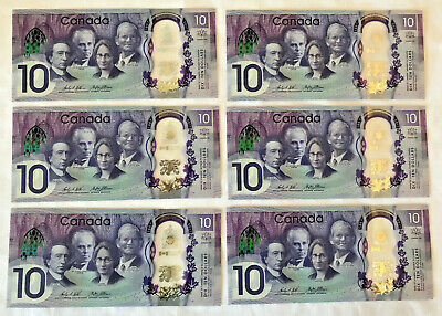 Set of Three  NEW Sequential UNC Canadian Polymer $10 Banknotes