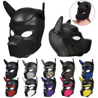 Soft Padded Latex Rubber Puppy Cosplay Role Play Dog Mask Full Head with Ear New