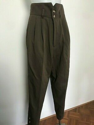 VINTAGE 80s Unlabelled High Waist Brown Pants Size 6-8