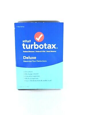 FAST SHIPPING Turbotax Intuit DELUXE 2018 New Federal + State E-File Windows/Mac