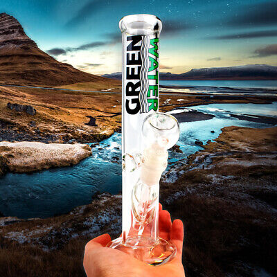 Bong WaterPipe Glass Ice Catcher 10 inch Clear Smoking Straight Tube Water pipe