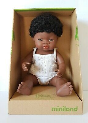 Miniland Baby Doll African Boy 38cm Vanilla Scented Anatomically Correct