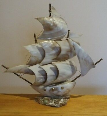Vintage Handmade Mother-of-Pearl Sea Shell Sailing Ship With Rigging & Masts
