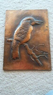 Vintage Handmade Beaten Copper Kookaburra Plaque on board-Circa 1960s