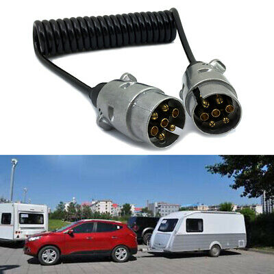 7 Pin Metal Trailer Plugs w/curly extension Cable Lead 1.5M Male To Caravan Male