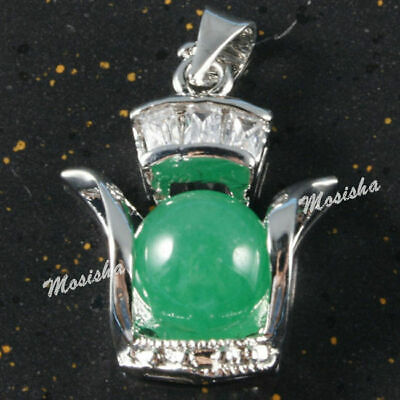 1x Silver Plated Copper Rhinestone Kettle-shaped Green Jade Pendant Vouge