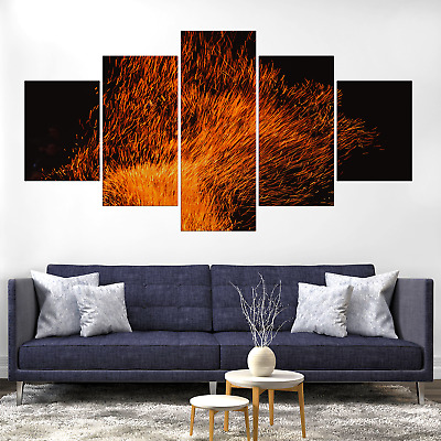 Fire Sparks Abstract Canvas Print Painting Framed Home Decor Wall Art Poster 5P