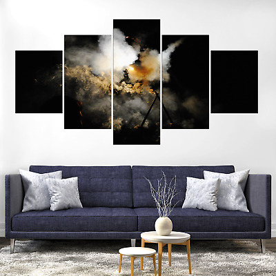 Abstract Multicolored Smoke Canvas Print Painting Framed Home Decor Wall Art 5P