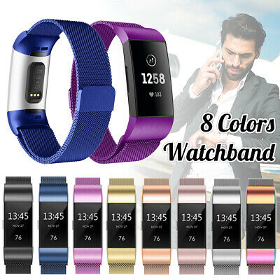 For Fitbit Charge 3 Band Metal Stainless Steel Milanese Wristband Strap 3 Styles