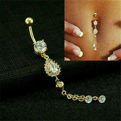 1*Belly Button Dangle Rings Crystal Jewelry Barbell Navel Ball Bar Body Piercing