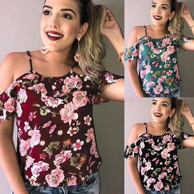 Plus Size Women Cold Shoulder T-Shirt Ladies Loose Blouse Tops Tee Holiday Party