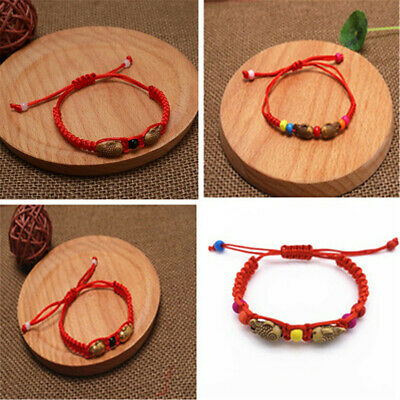 2pcs Chinese Feng Shui Red String Lucky Twin Fish Charm Bracelet Bangles Wealth
